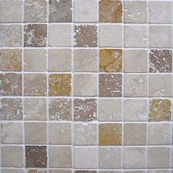 Light, Noce and Yellow Travertine tumbled mosaic