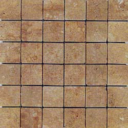 Noce Travertine tumbled mosaics